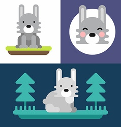 A set of three colorful bright of little hare vector