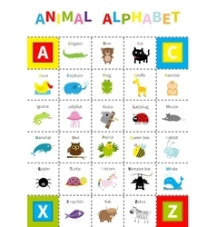 Animal zoo alphabet poster Cute cartoon character vector