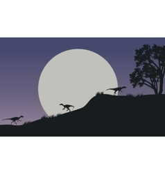 At night Eoraptor in hills scnery silhouette vector