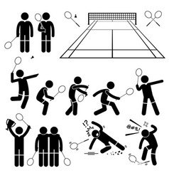 Badminton player actions poses stick figure vector