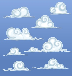 Beautiful Cartoon Clouds vector image