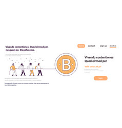 Business people team pulling rope bitcoin crypto vector