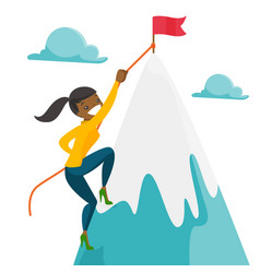Business woman climbing to her business goal vector