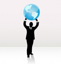 businessman lifting world vector image