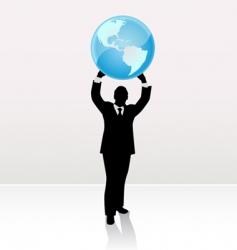 Businessman lifting world vector