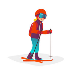 cartoon boy skiing in goggles isolated vector image