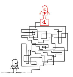 Cartoon man going to the leadership in a maze vector