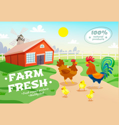 Chicken farm advertising background vector
