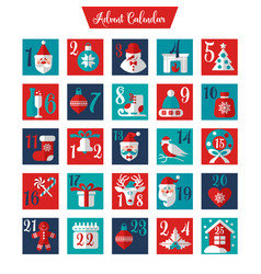 Christmas advent calendar or poster winter vector