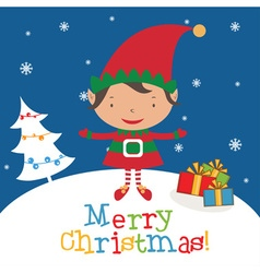 Christmas Elf Card template vector image
