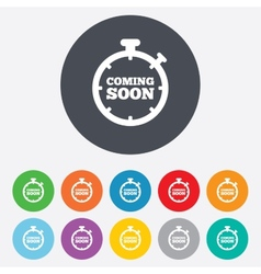 Coming soon icon Promotion announcement symbol vector image