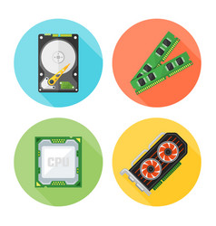 computer components set flat round icons vector image