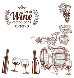 Corner frame of sketch wine icons vector