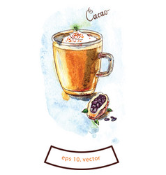 cup of cacao hot chocolate vector image