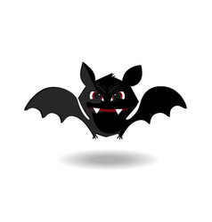 Cute flying bat with fangs and red eyes isolated vector