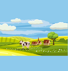 cute rural landscape with farm cow flowers vector image