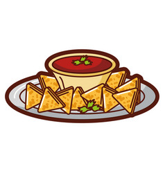 Delicious nachos with sauce vector