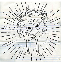 Doodle brain lifts with dumbbells fitnes vector