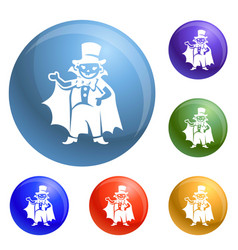 dracula kid costume icons set vector image