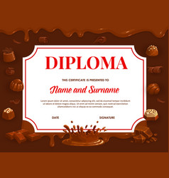 Education diploma with chocolate template vector
