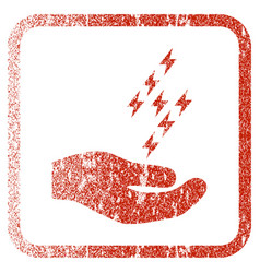 Electric energy offer hand framed textured icon vector