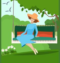 Elegant woman sitting on a garden swing vector