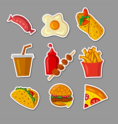 Fast food meals stickers vector