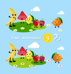 Finding differences children activity game happy vector
