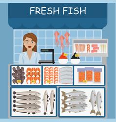 Fish market fresh raw fish vector