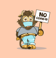 Funny baby bull with a sign in his hand vector