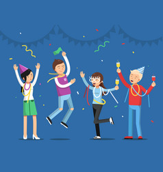 Funny people celebrating on party mascot vector