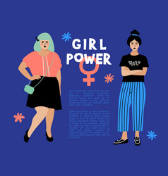 girl power card feminist flyer anti vector image