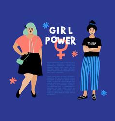 Girl power card feminist flyer anti vector