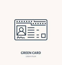 green card identity flat line icon id vector image