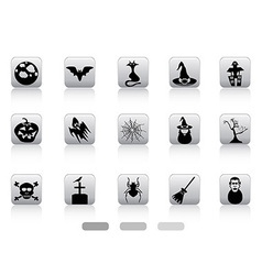 Halloween button icons set vector image