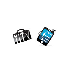hand phone suitcase with tools set vector image