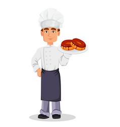 Handsome baker in professional uniform vector