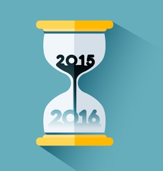 Happy New year 2016 Number inside the hourglass vector