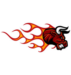 Head bull with flames design vector