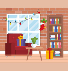 House livingroom with christmas decoration vector