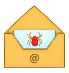 Infected email icon cartoon style vector