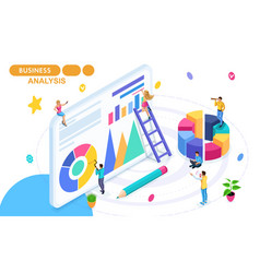Isometric concept of data collection and analysis vector