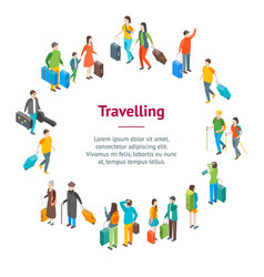 isometric travel people characters banner card vector image