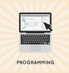 Laptop programming concept vector