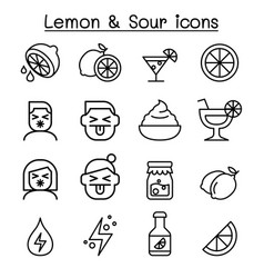 lemon sour icon set in thin line style vector image