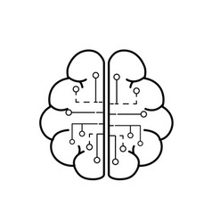 Line anatomy brain with circuits digital vector