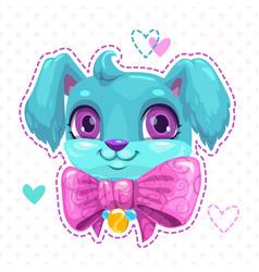 Little cute cartoon blue fluffy puppy face vector