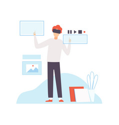 man in vr goggle headset helmet working vector image