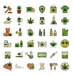 marijuana cannabis icons set medical vector image