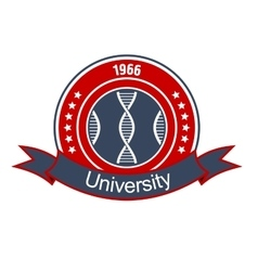 Medical university heraldic insignia with DNA vector